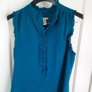 JCREW blue shirt with ruffle collar